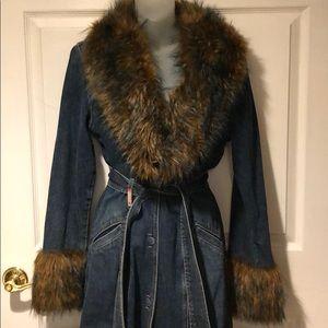 Vintage Guess Denim Belted Trench Coat Faux Fur M